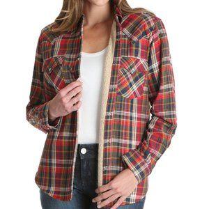 WRANGLER Retro Sherpa Lined Plaid Flannel Shirt